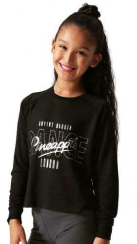 PINEAPPLE DANCEWEAR Girls Long Sleeved Slouchy Dance Jumper Black Crystal Studs